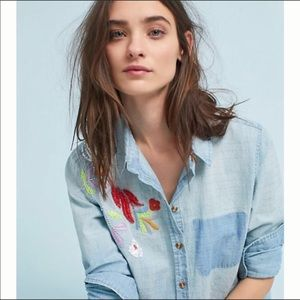 Anthro Maeve Boise Embroidered Chambray Shirt S